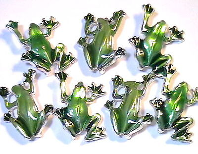 7-2 Hole Slider Spacer Connector Silver Plated Green Enamel Frogs Metal Casting