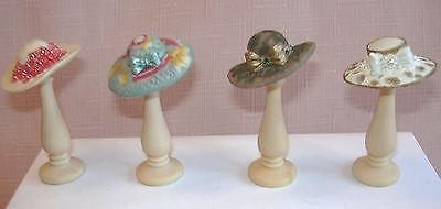 4 Miniature Hats on Hat Stands 12th Scale.