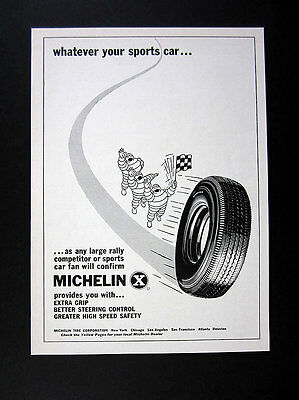 1960 Michelin X Tires Tire Man Holding Checkered Flag Art vintage print Ad
