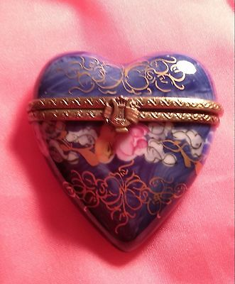Gorgeous Heart-shaped Hand Painted Limoges box  FREE SHIP!