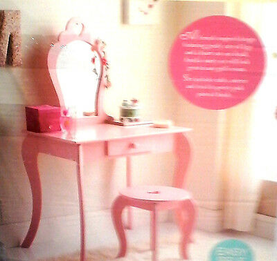 Childrens Wooden Pink Amelia Vanity Set/ Dressing Table With Mirror & Stool