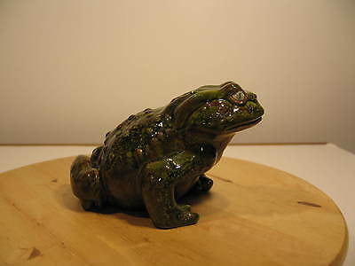 """Large Handpainted Ceramic Pottery Lawn Ornament 8"""" Garden Or House Frog/Toad"""