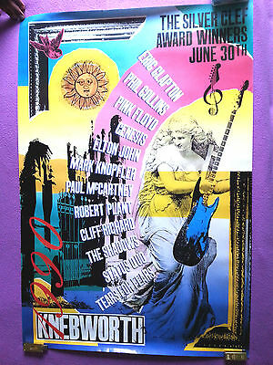 Knebworth 1990 Silver Clef Award Winners Concert Large Logo Poster Very Rare