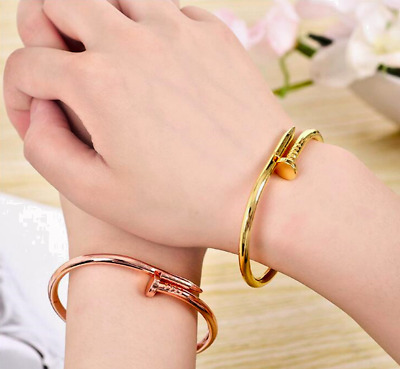 Silver Gold Rose Plated Nail Screw Rustic Chunky Bangle Bracelet in Gift Bag/Box