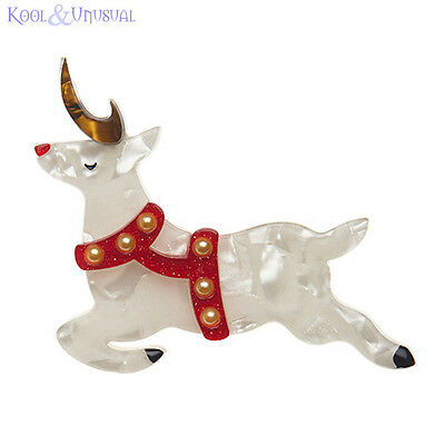 Beautiful NOW PRANCER Reindeer Resin Brooch by Erstwilder * Christmas