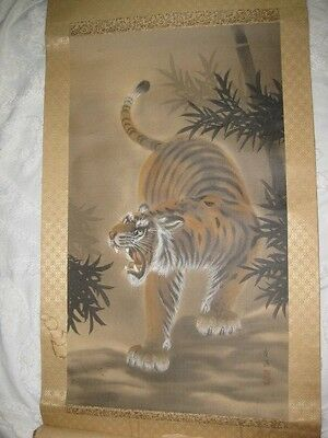 """SIGNED JAPANESE HANGING SCROLL ART Painting """"Tiger"""" Asian antique"""