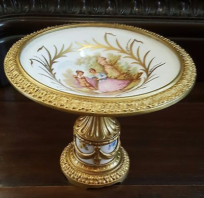 French Sevres Style Ormolu Gilt Bronze/Brass Mounted Porcelain Centerpiece