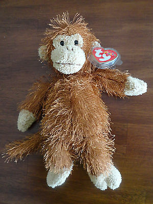 "New Ty Beanie Plunkies Monkey  ""Zig Zag"" Stuffed Animal"