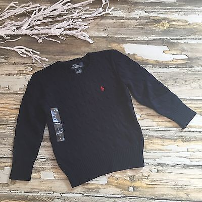 Ralph Lauren Sweater Holiday Cable Knit Navy Blue Boys Size 5 Red Pony #714