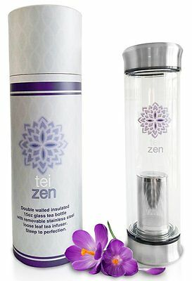 Tea Infuser Bottle - Double Walled Glass Tea Tumbler with Loose Leaf Stainless -