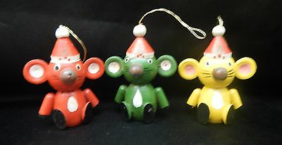 Vintage 3 Wooden Mouse Mice Santa Hat Christmas Ornaments