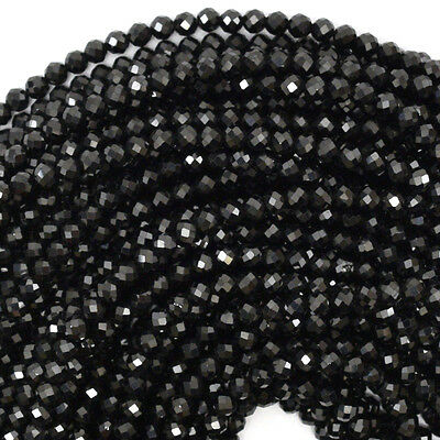 "3mm faceted black spinel round beads 15"" strand"