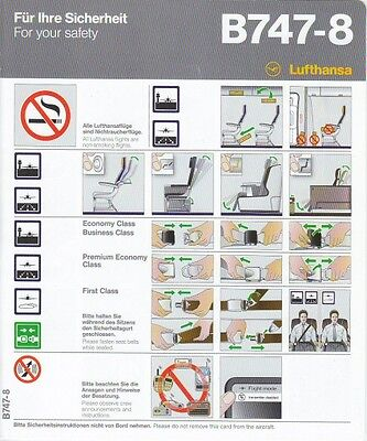 Lufthansa Airlines Boeing 747-800 Safety Card NEW