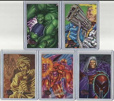 "1996 Marvel Onslaught PREVIEW CARD ""Complete Set"" of 9 Promo Cards (1-9) VHTF!!!"