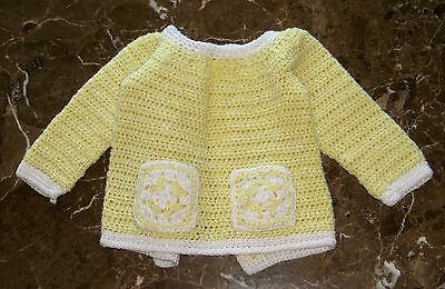 VINTAGE 1950's PALE YELLOW & WHITE TRIM  KNIT SWEATER~SIZE 2- 6  MONTHS