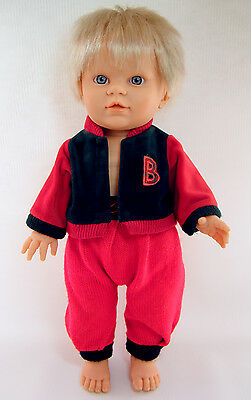 """Vintage Berjusa BABY BOY 16"""" Anatomically Correct with Original Outfit Clothes"""