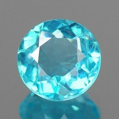 0.93ct 6.3mm Cute Round Paraiba Blue Natural Apatite Loose Gemstones Free Ship
