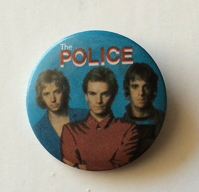 """Rare Vintage 1983 THE POLICE band pinback button Sting pin badge 1.25"""" Licensed"""