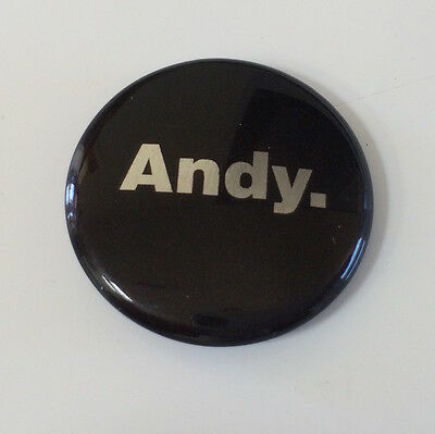 Andy Warhol pinback button pin badge ANDY. 1""