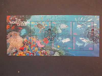 1--1995 -The World Down Under Mini Sheet -cancelled I st  DAY  --NO  GUM