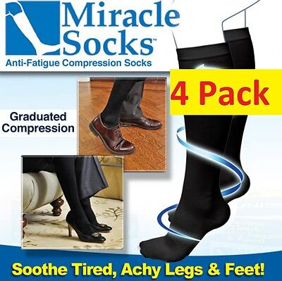 4 Pr MIRACLE SOCKS Compression for Aching Feet, Varicose Veins, Flight, Travel