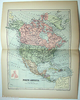 Original 1895 Map of North America by  W & A.K. Johnston