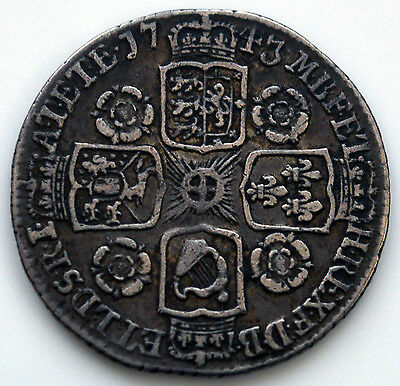George II 1743 Sixpence   (Roses in Angles)       (SN)