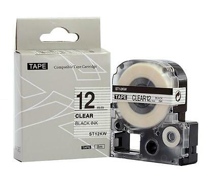 Epson LabelWorks 12mm x 8m Black on Clear Compatible Label Tape LK-4TBN