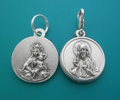 BROWN SCAPULAR MEDAL Our Lady of Mount Carmel Silver SACRED HEART Pendant / Clip