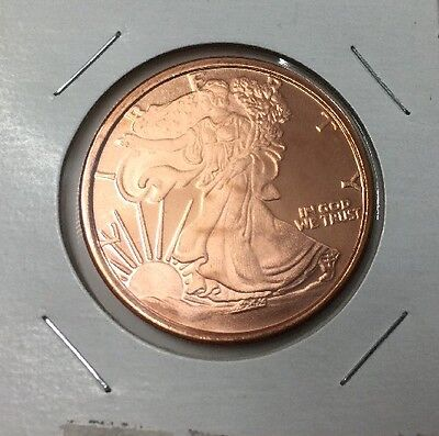 Walking Liberty Type Copper Bullion Round, 1 Avdp Oz