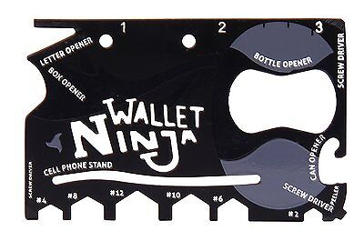 Wallet Ninja 18 in 1 Credit Card Pocket Multi Tool DIY Bottle Opener Screwdriver