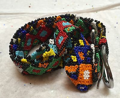 Lovely Beaded Multi Color Ethnic Mexican Native American Belt Vintage