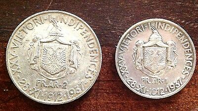 albania coins 1 and 2 frang ar  1937,25th independence, 2 pcs silver.