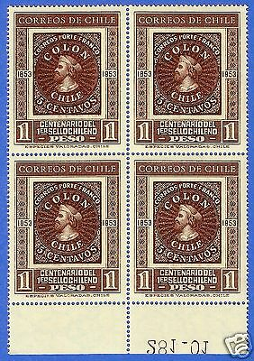 Chile, Centenary Of The Chilean Stamp, Columbus, Block Of Four, 1953, Mnh