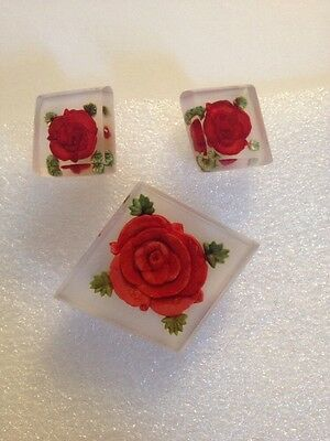 Vintage Plastic Lucite  Handcarved Red Rose Brooch & Earring Set(D122)
