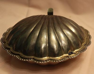 Antique Elegance Silver Plate Clam Shell Butter Dish With Glass Insert