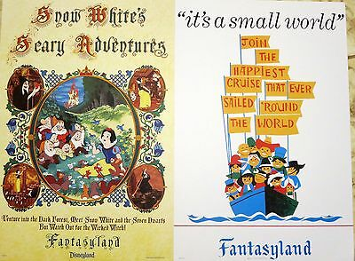 2 Disneyland Attraction Posters It's a Small World & Snow White Adventures 12x18