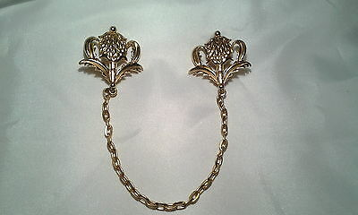 Vintage Gold MJent Royal Crest Pineapple? Chatelaine Sweater Guard Scarf Pin