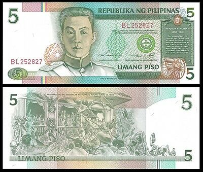 Philippines 5 PISO Sign 14 ND 1995 P 180 UNC
