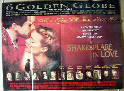 SHAKESPEARE IN LOVE (1999) Cinema Quad Poster - Gwyneth Paltrow - globes vers