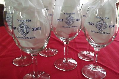 Knights of Columbus Crystal Wine Glasses 100 year Celebration 996 Council set 6