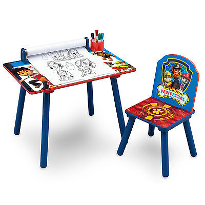 New Delta Children Paw Patrol Activity Desk / Table With Chair & Colouring Paper