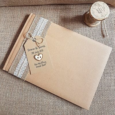 Personalised Kraft Wedding Guest Book Vintage Style-Hessian & Lace Rustic Heart