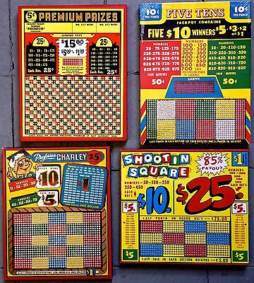 4 vintage punchboards FREE SHPNG NOS unpunched great color & condition