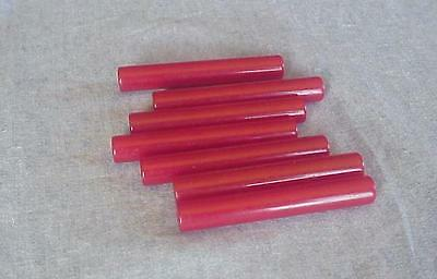 7 Vintage Cherry Red Bakelite Rods-4 Inch Long-Simichrome Tested