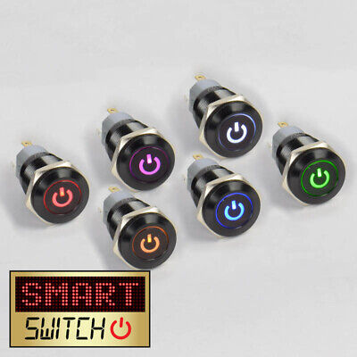 SmartSwitch 12V/24V 18mm IP67 Steel LED Illuminated ON/OFF POWER Button Switch