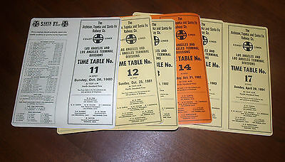 Vintage Group Lot Rr Employee Timetable Atchison Topeka & Santa Fe Los Angeles