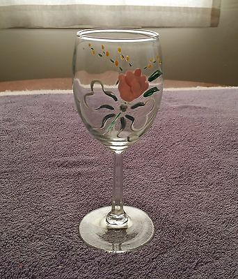 Hand Painted Wine Glass Pink Rose 7 inches Clear Decorative Festive Dinner