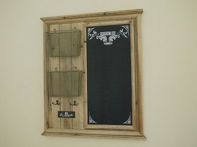 WOOD NOTICE BOARD MEMO CHALK BOARD WITH HOOKS AND LETTER RACKS ideal for kitchen