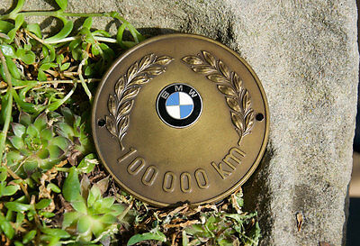 Very Nice Vintage Enamel Automobile Car Club Badge # Bmw 100.000 Kilometers